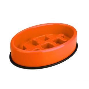M-PETS Gyvūnų lėto maitinimo dubenėlis ovalo formos, oranžinis