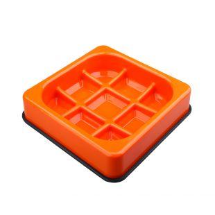 M-PETS Gyvūnų lėto maitinimo dubenėlis vaflio formos, oranžinis