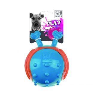 M-PETS Šunų guminis kamuoliukas su kaulo formos rankenomis mėlynas