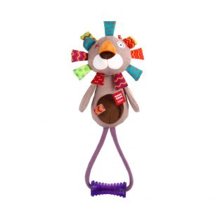 GIGWI Šunų žaislas Liūtas su kramtuku, pliušinis, cypiantis, pilkas