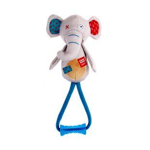 GIGWI Šunų žaislas Dramblys su kramtuku, pliušinis, cypiantis, pilkas