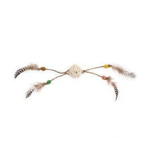 GIGWI Kačių žaislas kamuoliukas su plunksnomis ir katžole, rudas