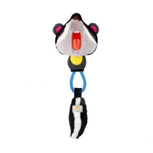 GIGWI Šunų žaislas Šeškas su virve, cypiantis, pilkas