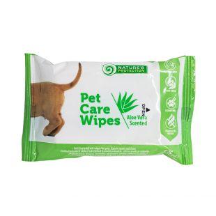 NATURE'S PROTECTION Antibakterinės gyvūnų priežiūros servetėlės alavijų kvapo, 15vnt