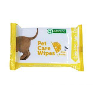 NATURE'S PROTECTION Antibakterinės gyvūnų priežiūros servetėlės citrinos kvapo, 15vnt