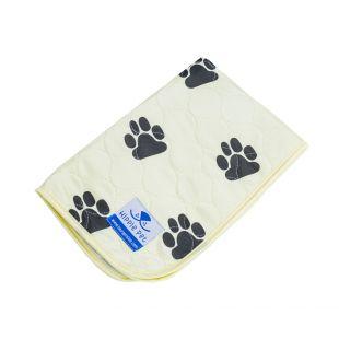 HIPPIE PET Daugkartinio naudojimo pala 80x90 cm geltona su pėdomis (dydis L)