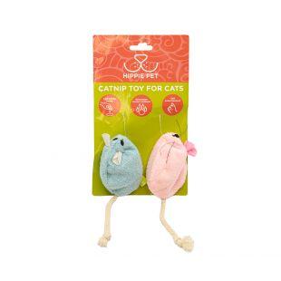 HIPPIE PET Kačių žaislas su katžole, mėlynas ir rožinis, 2 vnt