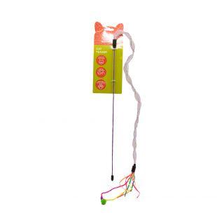 HIPPIE PET Kačių žaislas meškerė su elastine virvele, įvairiaspalvė, 42 cm