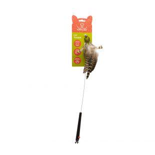 HIPPIE PET Kačių žaislas meškerė su plunksnomis, įvairiaspalvė, 48 cm