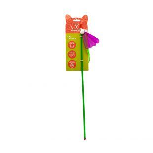 HIPPIE PET Kačių žaislas meškerė, Drugelis, žalias, 45 cm