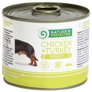NATURE'S PROTECTION Dog Adult Chicken & Turkey Konservuotas pašaras šunims 200 g x 4