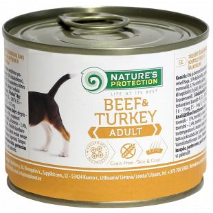 NATURE'S PROTECTION Dog Adult Beef & Turkey Konservuotas pašaras šunims 200 g x 4