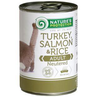 NATURE'S PROTECTION Cat Neutered Turkey, Salmon&Rice Konservuotas pašaras 400 g x 4
