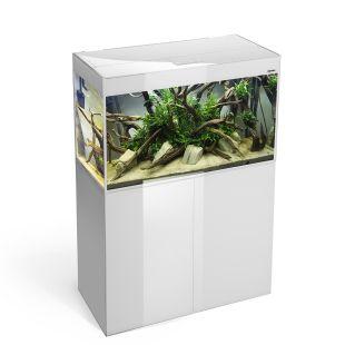 AQUAEL Stačiakampis akvariumas GlOOSY SET CUBE baltas, 80x35x54 cm, 125 l