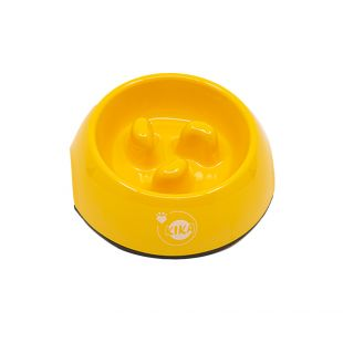 KIKA Šunų lėto valgymo dubenėlis melamininis, geltonas, M