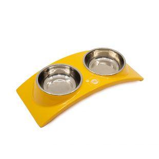 KIKA RAINBOW gyvūnų dubenėlis dvigubas, geltonas, S