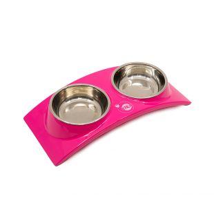 KIKA RAINBOW gyvūnų dubenėlis dvigubas, rožinis, S