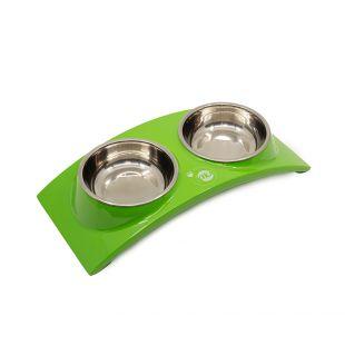 KIKA RAINBOW gyvūnų dubenėlis dvigubas, žalias, S