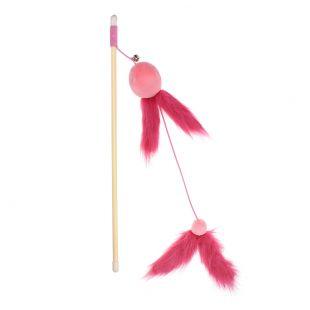 HIPPIE PET Kačių žaislas meškerė su plunksnomis, rožinė, 40 cm
