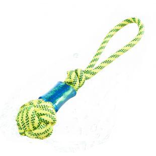 MISOKO&CO šunų plūduriuojantis žaislas-virvė, su kamuoliuku geltona, 41 cm