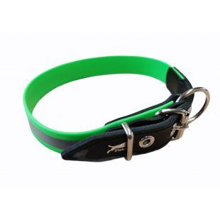 HIPPIE PET Antkaklis odinis su atšvaitu 2.5x55 cm, žalia