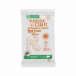 NATURE'S PROTECTION SUPERIOR CARE Red Coat Hypoallergenic Oral Care Grain free Salmon, pašaro papildas-skanėstas su lašiša, raudonkailiams suaugusiems šunims 150 g, su lašiša
