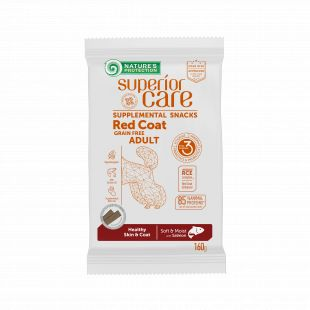 NATURE'S PROTECTION SUPERIOR CARE Red Coat Healthy Skin & Coat Grain free Salmon, pašaro papildas - skanėstas su lašiša, raudonkailiams suaugusiems šunims 160 g, su lašiša