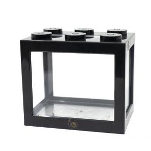 KIKA Akvariumas kaladėlė 16x10.5x14cm, juodas