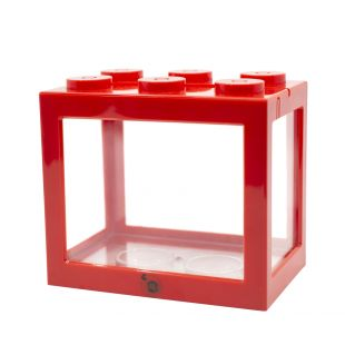 KIKA Akvariumas kaladėlė 16x10.5x14cm, raudonas