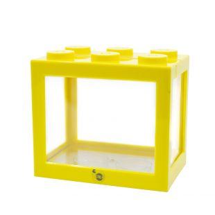 KIKA Akvariumas kaladėlė 16x10.5x14cm, geltonas