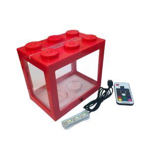 KIKA Akvariumas kaladėlė su LED, 16x10.5x14cm, raudonas