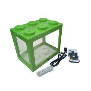 KIKA Akvariumas kaladėlė su LED, 16x10.5x14cm, žalias