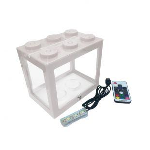 KIKA Akvariumas kaladėlė su LED, 16x10.5x14cm, baltas