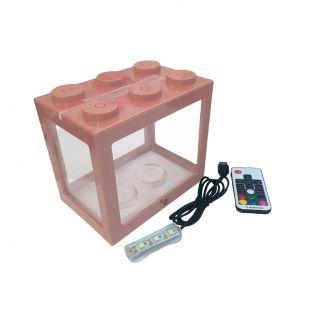 KIKA Akvariumas kaladėlė su LED, 16x10.5x14cm, rožinis