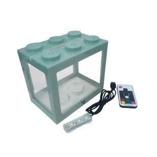 KIKA Akvariumas kaladėlė su LED, 16x10.5x14cm, melsvas