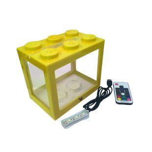 KIKA Akvariumas kaladėlė su LED, 16x10.5x14cm, geltonas