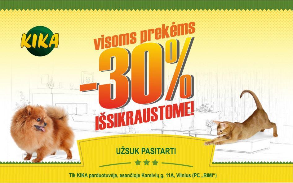 Visoms prekėms -30% KIKA parduotuvėje Vilniuje